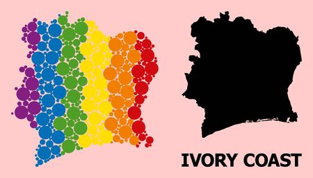 Rainbow colored mosaic vector map of Ivory Coast for LGBT, and black version. Geographic mosaic map of Ivory Coast is created with random circle elements. Çizim