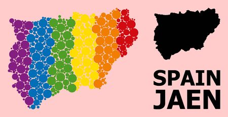 Rainbow colored collage vector map of Jaen Spanish Province for LGBT, and black version. Geographic collage map of Jaen Spanish Province is done with random circle spots.