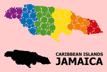 Spectrum vibrant mosaic vector map of Jamaica for LGBT, and black version. Geographic mosaic map of Jamaica is combined with randomized round spheric dots. Çizim