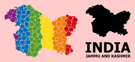 Rainbow colored mosaic vector map of Jammu and Kashmir State for LGBT, and black version. Geographic mosaic map of Jammu and Kashmir State is organized with random circle spots.