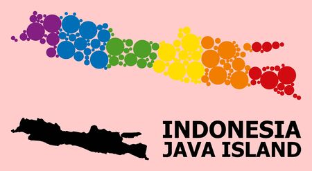 Spectrum vibrant pattern vector map of Java Island for LGBT, and black version. Geographic concept map of Java Island is created from randomized circle spots. Çizim