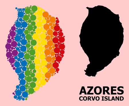 Spectrum colored collage vector map of Corvo Island for LGBT, and black version. Geographic collage map of Corvo Island is created with randomized circle dots. Ilustração