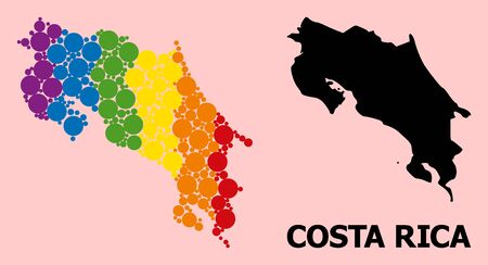 Rainbow colored collage vector map of Costa Rica for LGBT, and black version. Geographic collage map of Costa Rica is combined from random circle elements.