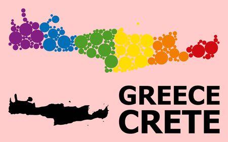 Spectrum colored mosaic vector map of Crete Island for LGBT, and black version. Geographic mosaic map of Crete Island is composed from scattered round spheric spots. Ilustração