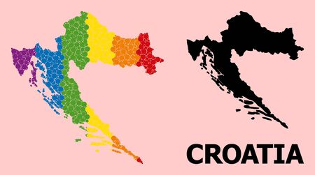 Rainbow vibrant mosaic vector map of Croatia for LGBT, and black version. Geographic concept map of Croatia is done from randomized circle elements.