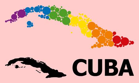 Rainbow colored pattern vector map of Cuba for LGBT, and black version. Geographic concept map of Cuba is created with random round spheric elements.