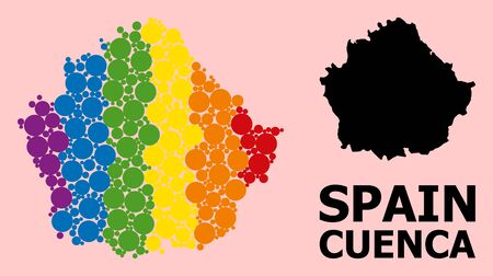 Spectrum vibrant mosaic vector map of Cuenca Province for LGBT, and black version. Geographic mosaic map of Cuenca Province is designed from random round spheric elements.
