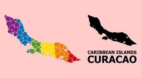 Spectrum colored mosaic vector map of Curacao Island for LGBT, and black version. Geographic mosaic map of Curacao Island is organized from random circle spots.