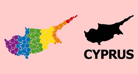 Rainbow vibrant pattern vector map of Cyprus Island for LGBT, and black version. Geographic concept map of Cyprus Island is done with random round spheric spots.