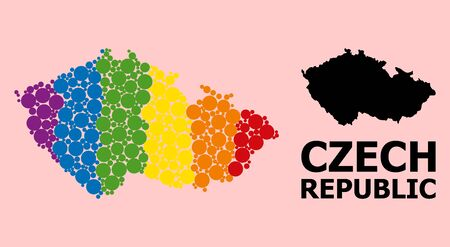 Spectrum colored pattern vector map of Czech Republic for LGBT, and black version. Geographic concept map of Czech Republic is constructed from scattered circle spots. Çizim