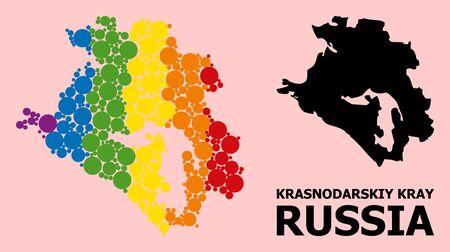 Spectrum vibrant pattern vector map of Krasnodarskiy Kray for LGBT, and black version. Geographic concept map of Krasnodarskiy Kray is organized with scattered round spheric spots. Çizim