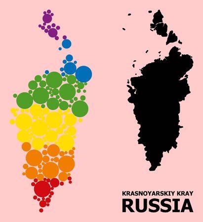 Spectrum colored mosaic vector map of Krasnoyarskiy Kray for LGBT, and black version. Geographic mosaic map of Krasnoyarskiy Kray is designed from randomized round spheric spots.