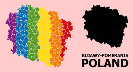 Rainbow colored collage vector map of Kujawy-Pomerania Province for LGBT, and black version. Geographic collage map of Kujawy-Pomerania Province is created from randomized round spheric spots.