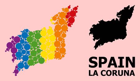 Spectrum colored collage vector map of La Coruna Province for LGBT, and black version. Geographic collage map of La Coruna Province is combined with randomized round spheric dots.