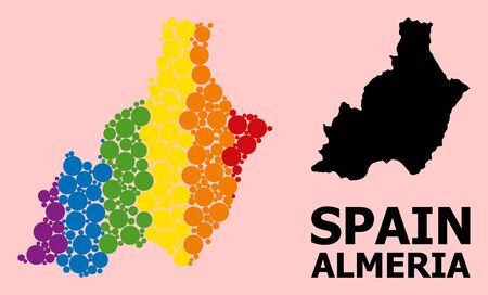 Spectrum vibrant collage vector map of Almeria Province for LGBT, and black version. Geographic collage map of Almeria Province is done with scattered round spheric elements.