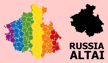 Rainbow vibrant collage vector map of Altai Republic for LGBT, and black version. Geographic collage map of Altai Republic is combined from randomized round spheric dots.