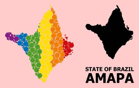Rainbow vibrant mosaic vector map of Amapa state for LGBT, and black version. Geographic mosaic map of Amapa state is created from randomized circle spots. Çizim
