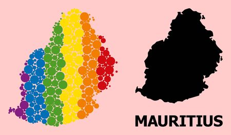 Rainbow vibrant collage vector map of Mauritius Island for LGBT, and black version. Geographic concept map of Mauritius Island is organized with scattered round spheric spots.