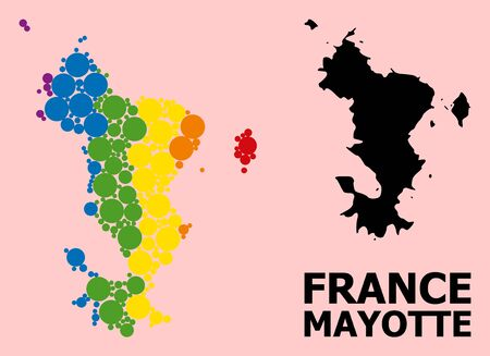 Spectrum vibrant collage vector map of Mayotte Islands for LGBT, and black version. Geographic collage map of Mayotte Islands is designed with random round spheric spots.