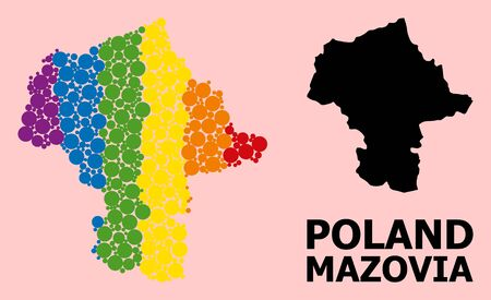 Spectrum vibrant mosaic vector map of Mazovia Province for LGBT, and black version. Geographic mosaic map of Mazovia Province is done with scattered circle dots. Çizim