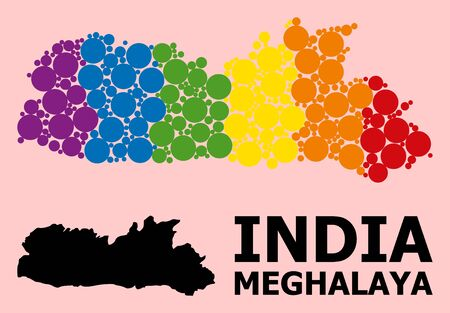 Rainbow vibrant mosaic vector map of Meghalaya State for LGBT, and black version. Geographic mosaic map of Meghalaya State is created from randomized round spheric spots.  イラスト・ベクター素材