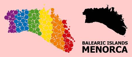 Spectrum colored collage vector map of Menorca Island for LGBT, and black version. Geographic collage map of Menorca Island is combined from random circle elements.