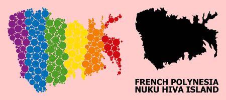 Rainbow vibrant mosaic vector map of Nuku Hiva Island for LGBT, and black version. Geographic mosaic map of Nuku Hiva Island is combined from scattered circle elements. Ilustração