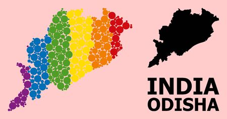Spectrum colored collage vector map of Odisha State for LGBT, and black version. Geographic collage map of Odisha State is constructed with randomized circle elements.