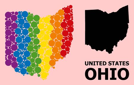 Spectrum vibrant mosaic vector map of Ohio State for LGBT, and black version. Geographic concept map of Ohio State is constructed with scattered round spheric spots.