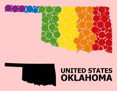 Spectrum colored mosaic vector map of Oklahoma State for LGBT, and black version. Geographic concept map of Oklahoma State is created from scattered circle spots. Ilustração