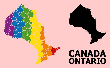 Rainbow vibrant collage vector map of Ontario Province for LGBT, and black version. Geographic composition map of Ontario Province is organized with randomized circle spots.