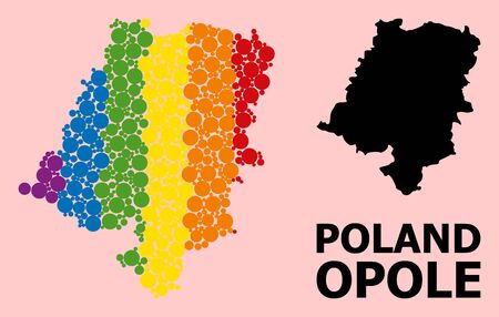 Rainbow vibrant collage vector map of Opole Province for LGBT, and black version. Geographic collage map of Opole Province is organized with scattered round spheric spots.