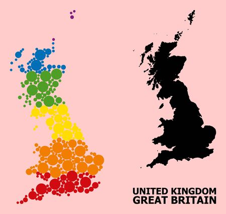 Spectrum vibrant collage vector map of Great Britain for LGBT, and black version. Geographic collage map of Great Britain is combined with scattered circle elements.