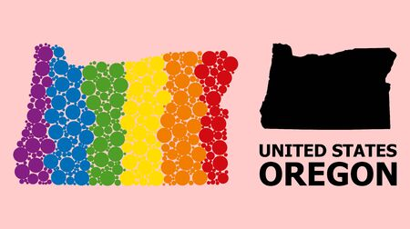 Spectrum colored mosaic vector map of Oregon State for LGBT, and black version. Geographic mosaic map of Oregon State is constructed with scattered circle elements. Çizim