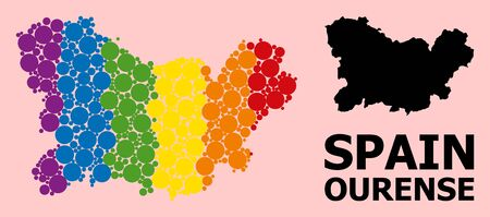 Spectrum colored collage vector map of Ourense Province for LGBT, and black version. Geographic collage map of Ourense Province is composed from random round spheric elements. Çizim