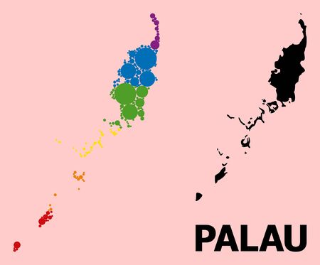 Rainbow colored pattern vector map of Palau Islands for LGBT, and black version. Geographic concept map of Palau Islands is organized with random circle dots.