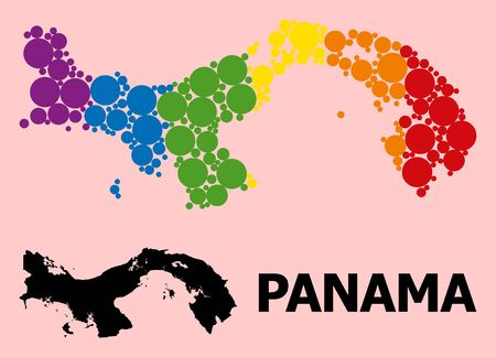Spectrum vibrant collage vector map of Panama for LGBT, and black version. Geographic collage map of Panama is combined with randomized round spheric spots.