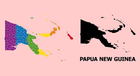 Rainbow colored collage vector map of Papua New Guinea for LGBT, and black version. Geographic composition map of Papua New Guinea is organized from randomized circle elements.