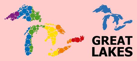 Rainbow colored collage vector map of Great Lakes for LGBT, and black version. Geographic concept map of Great Lakes is created with randomized circle spots. Çizim