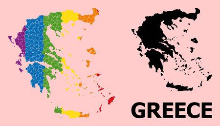 Spectrum vibrant mosaic vector map of Greece for LGBT, and black version. Geographic mosaic map of Greece is done with random circle elements.