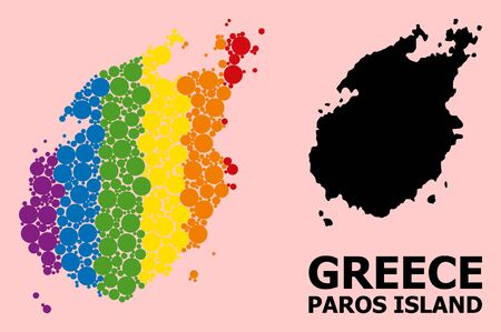 Rainbow colored mosaic vector map of Paros Island for LGBT, and black version. Geographic mosaic map of Paros Island is created from scattered circle spots.