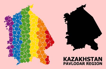 Rainbow vibrant collage vector map of Pavlodar Region for LGBT, and black version. Geographic collage map of Pavlodar Region is done from scattered circle elements.