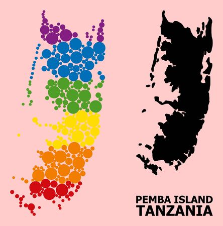 Rainbow colored mosaic vector map of Pemba island for LGBT, and black version. Geographic mosaic map of Pemba island is organized with scattered circle elements.