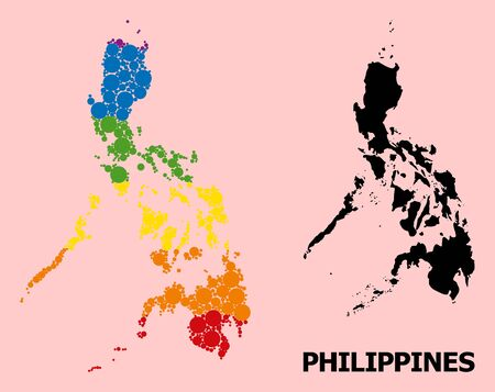 Spectrum colored mosaic vector map of Philippines for LGBT, and black version. Geographic mosaic map of Philippines is created from randomized circle dots. Çizim