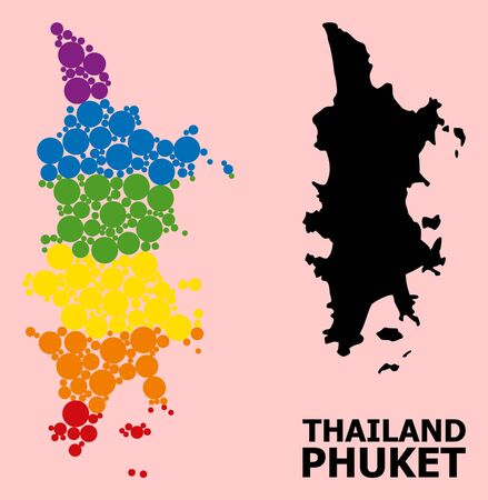 Spectrum colored collage vector map of Phuket for LGBT, and black version. Geographic collage map of Phuket is created from random circle elements. Çizim