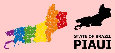 Rainbow colored collage vector map of Piaui State for LGBT, and black version. Geographic concept map of Piaui State is created from randomized circle spots.