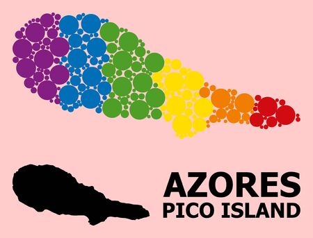 Rainbow vibrant pattern vector map of Pico Island for LGBT, and black version. Geographic concept map of Pico Island is composed from scattered round spheric spots.