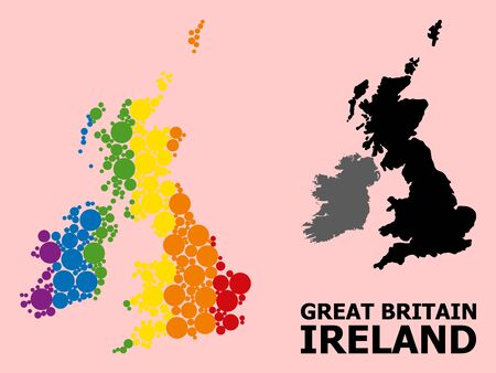 Rainbow colored collage vector map of Great Britain and Ireland for LGBT, and black version. Geographic collage map of Great Britain and Ireland is combined with randomized circle spots.