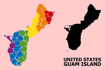 Spectrum colored collage vector map of Guam Island for LGBT, and black version. Geographic collage map of Guam Island is composed from randomized circle spots.