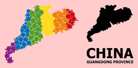 Rainbow colored mosaic vector map of Guangdong Province for LGBT, and black version. Geographic mosaic map of Guangdong Province is composed with randomized circle spots.